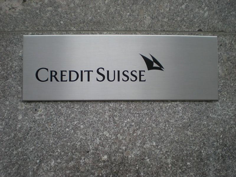 לוגו של קרדיט סוויס באחד מסניפי הבנק