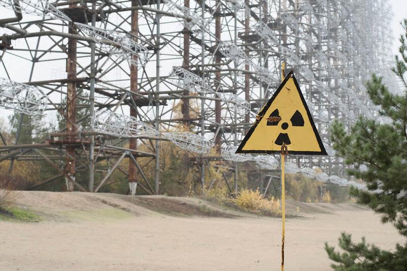 שלט 'זהירות קרינה גרעינית' בצ'רנוביל